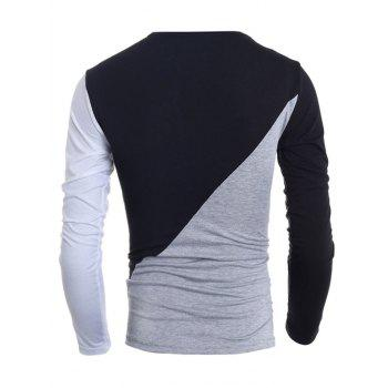 Fashionable Round Neck Classic Color Splicing Slimming Long Sleeves Men's T-Shirt - M M