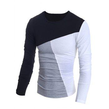 Fashionable Round Neck Classic Color Splicing Slimming Long Sleeves Men's T-Shirt - L L
