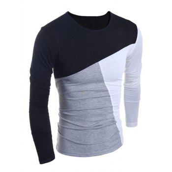 Fashionable Round Neck Classic Color Splicing Slimming Long Sleeves Men's T-Shirt - BLACK L