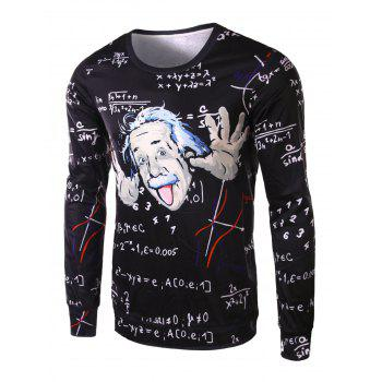 Slimming Round Neck Modish 3D Mathematician Pattern Long Sleeve Polyester Men's T-Shirt