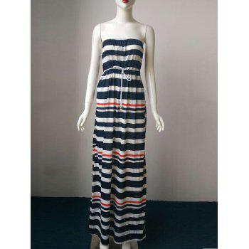 Stylish Women's Strapless Striped Drawstring Maxi Dress