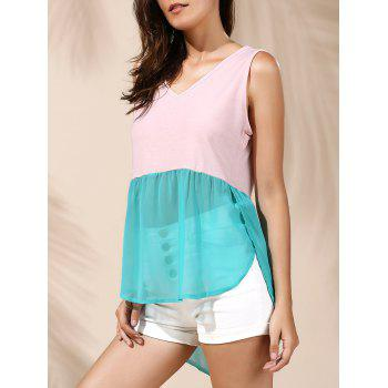 Refreshing Color Block Chiffon Women's Tank Top