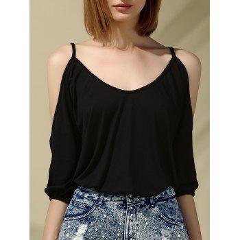 Glamourous Women's Plunging Neck Cold Shoulder 3/4 Sleeves Blouse