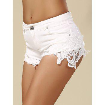 Mid Waist Lace Panel Shorts