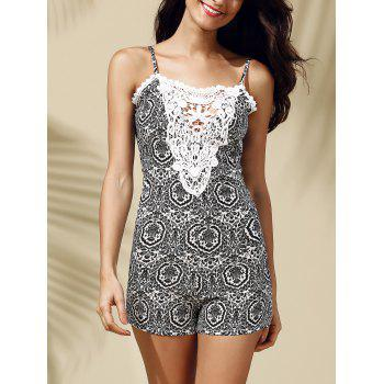 Chic Spaghetti Strap Lace Spliced Backless Printed Women's Romper
