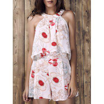 Stylish Women's Round Neck Ruffled Floral Print Top and Short Suit