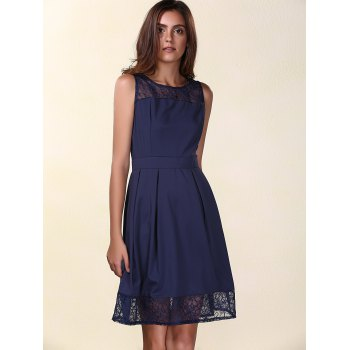 Trendy Sleeveless Round Neck Solid Color Lace Spliced Women's Dress