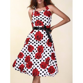 Fashionable Halter Polka Dot Floral Print Women's Dress