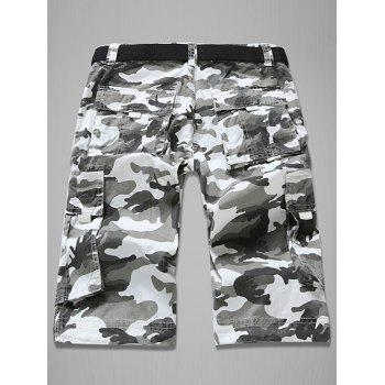 Trendy Loose Fit Multi-Pockets Camo Printed Men's Cargo Shorts - WHITE 29
