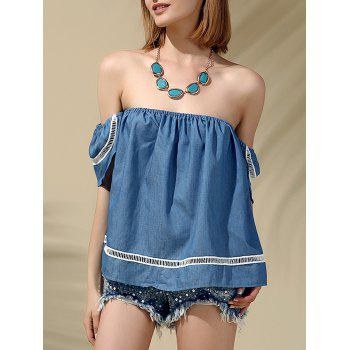 Attractive Women's Off-The-Shoulder Short Sleeves Denim Blouse