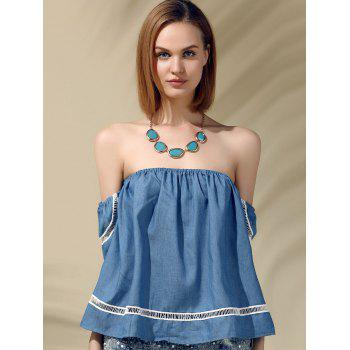 Attractive Women's Off-The-Shoulder Short Sleeves Denim Blouse - S S