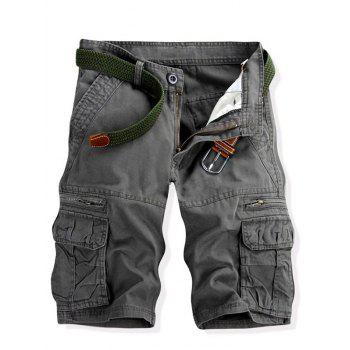 Casual Multi-pockets Solid Color Men's Cargo Shorts