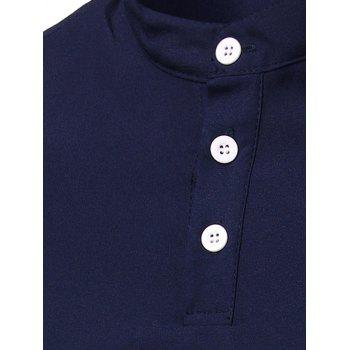 Men's Trendy Solid Color Button Design Henley Shirt - BLACK M