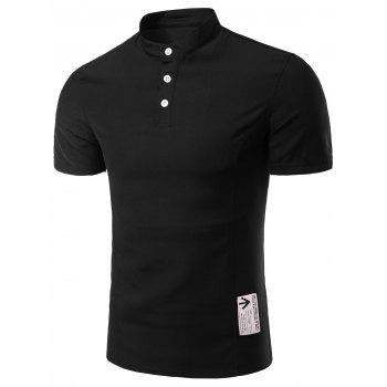 Buy Men's Trendy Solid Color Button Design Henley Shirt BLACK