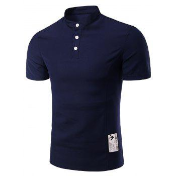 Men's Trendy Solid Color Button Design Henley Shirt