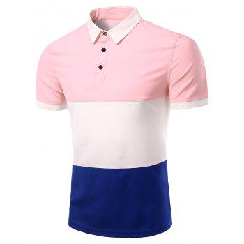 Men's Stylish Stripes Turn-down Collar Color Block  Short Sleeves Polo T-Shirt