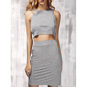 Stylish Women's Round Neck Ribbed Top and Solid Color Skirt Set