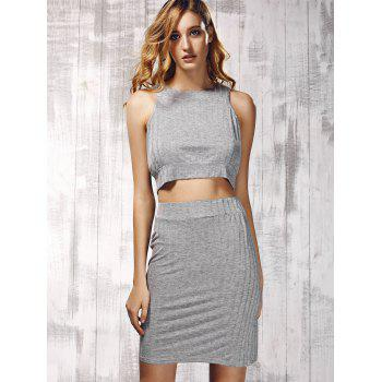 Stylish Women's Round Neck Ribbed Top and Solid Color Skirt Set - GRAY M