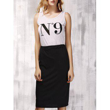 Stylish Women's Scoop Neck Print Top and Black Skirt Set