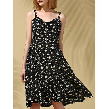 Stylish Women's Strappy Floral Print Midi Dress