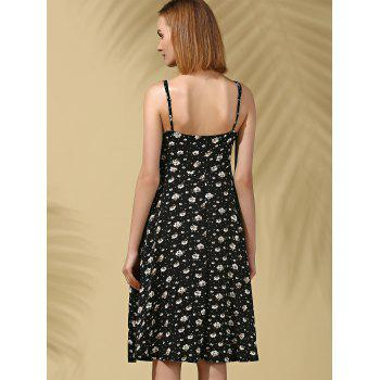 Stylish Women's Strappy Floral Print Midi Dress - BLACK M