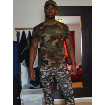 Slimming Fit Short Sleeves Camo Round Collar T-Shirt For Men - CAMOUFLAGE CAMOUFLAGE