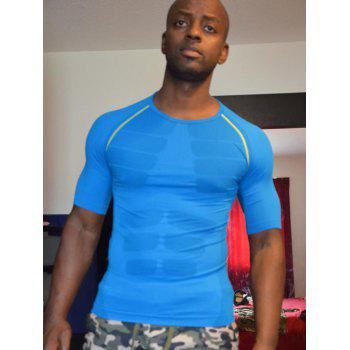Round Collar Pullover Color Block Tights Quick-Dry Cycling T-Shirt For Men - BLUE BLUE