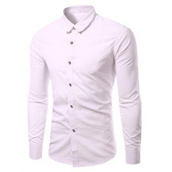 Men's Solid Color Metallic Turn-Down Callor Long Sleeves Shirts