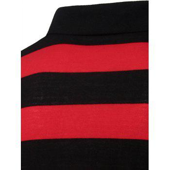 Collar Stripes Turn-down T-shirt court Men 's  Manches Polo - Rouge L