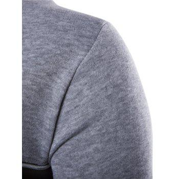 Color Block PU Leather Splicing Round Neck Long Sleeves Men's Sweatshirt - LIGHT GRAY L