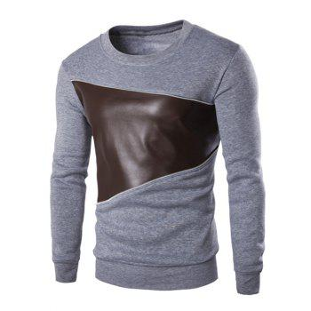 Color Block PU Leather Splicing Round Neck Long Sleeves Men's Sweatshirt