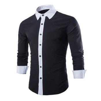 Laconic Turn-down Collar Color Block Top Fly Men's Long Sleeves Shirt