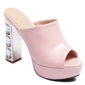 Stylish Peep Toe and Chunky Heel Design Women's Slippers - PINK 39