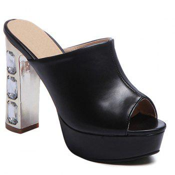 Stylish Peep Toe and Chunky Heel Design Women's Slippers - BLACK 39