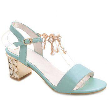 Casual Faux Pearls and Chunky Heel Design Women's Sandals