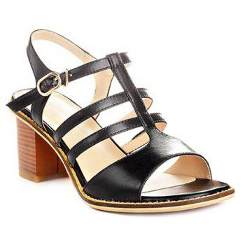 Stylish Chunky Heel and T-Strap Design Women's Sandals