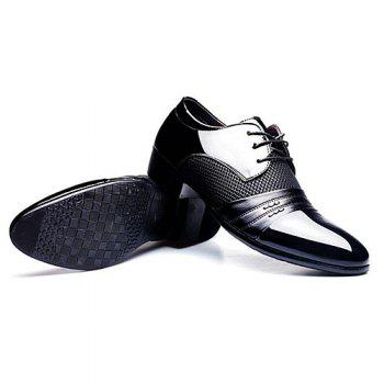 Stylish Splicing and Pointed Toe Design Men's Formal Shoes - BLACK 40