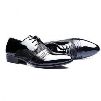 Stylish Splicing and Pointed Toe Design Men's Formal Shoes - BLACK 41