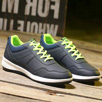 Concise Lace-Up and PU Leather Design Men's Athletic Shoes - 43 43