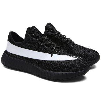 Fashionable Lace-Up and Hit Color Design Men's Athletic Shoes - WHITE/BLACK WHITE/BLACK