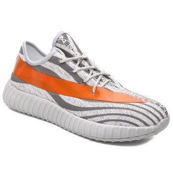 Fashionable Lace-Up and Hit Color Design Men's Athletic Shoes - LIGHT GRAY 44