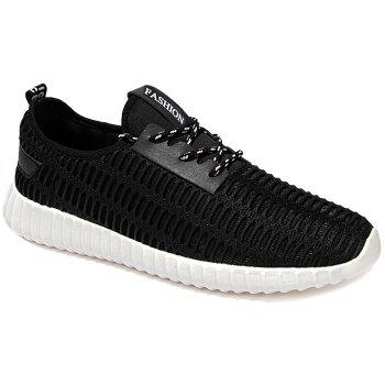 Buy Stylish Lace-Up Mesh Design Men's Athletic Shoes BLACK