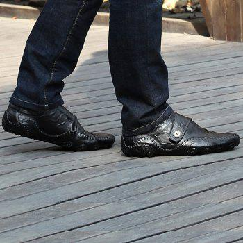 Fashionable Stitching and Button Design Men's Casual Shoes - BLACK 38