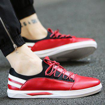 Fashionable Striped and Splicing Design Men's Casual Shoes - RED 42