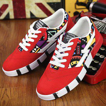 Fashionable Suede and Multicolour Design Men's Casual Shoes - RED 39
