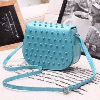 Buy Stylish Studded Solid Color Design Women's Crossbody Bag LIGHT BLUE