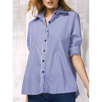 Brief Shirt Collar Long Sleeve Vertical Striped Shirt For Women - BLUE L