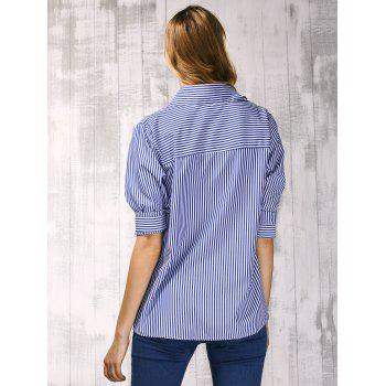 Brief Shirt Collar Long Sleeve Vertical Striped Shirt For Women - L L