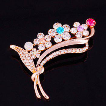 Faux Gem Rhinestone Flower Leaf Brooch