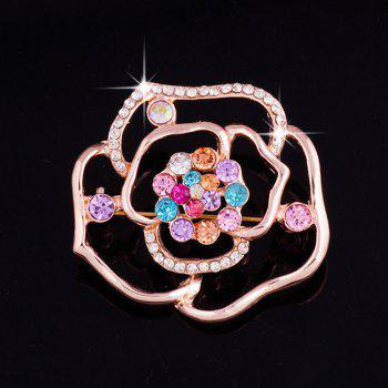 Faux Gem Rhinestone Rose Brooch